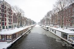 Snowy Amsterdam Netherlands in winter. Snowy Amsterdam in the Netherlands in winter Royalty Free Stock Photography