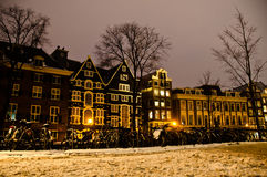 Snowy Amsterdam At Night Royalty Free Stock Image