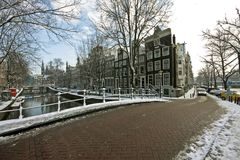 Snowy Amsterdam in wintertime in Netherlands Stock Image