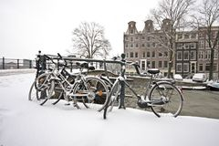 Snowy Amsterdam in wintertime in Netherlands Stock Photo