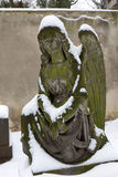 Snowy Angel from the mystery old Prague Cemetery, Czech Republic Stock Photography