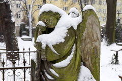 Snowy Angel from the mystery old Prague Cemetery, Czech Republic Stock Photos