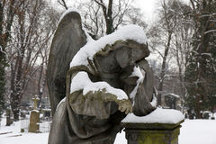 Snowy Angel from the mystery old Prague Cemetery, Czech Republic Royalty Free Stock Photos