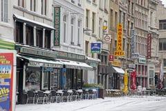 Snowy Antwerp stock photo