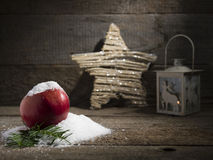 Snowy apple with christmas lamp decorated Stock Photography