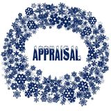 Snowy APPRAISAL text in snowflake frame. Illustration concept Stock Image