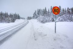 Snowy arctic winter road. Royalty Free Stock Image