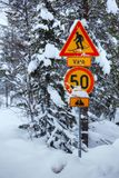 Snowy arctic winter road. Royalty Free Stock Images