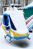 Snowy attraction Helicopters in winter park, Gomel, Belarus Royalty Free Stock Photography