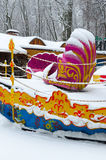 Snowy attraction in winter park during snowfall, Gomel, Belarus Royalty Free Stock Image