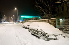 Snowy-Autos Stockbilder