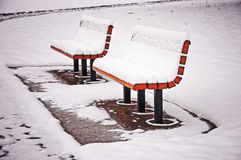 Snowy-Bänke Stockbild
