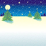 Snowy background. Snowy and starry night Christmas or winter background (all snow is a single curve - easy to remove or change color - for vector mode Royalty Free Stock Photography