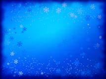 Snowy background. Christmas snow blue frame background with snowflakes vector illustration