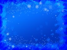 Snowy background. Christmas snow blue frame background with snowflakes stock illustration