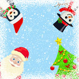 Snowy Background with Christmas characters Stock Photography