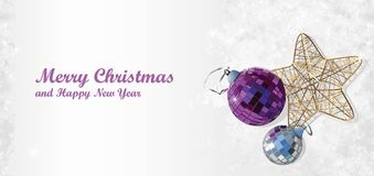 Snowy background with Christmas tree decorations vector illustration