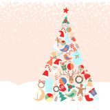 Snowy background with Christmas tree with toys Royalty Free Stock Image