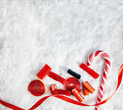 Snowy Background With Colorful Candies Royalty Free Stock Photo