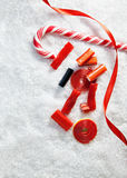 Snowy Background With Colorful Candies Stock Photo
