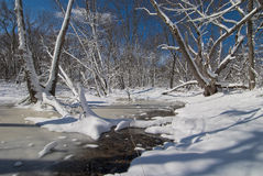 Snowy backwaters of the rum river, minnesota Stock Photography