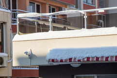 Snowy balcony in Bulgarian Pomorie, winter Royalty Free Stock Image