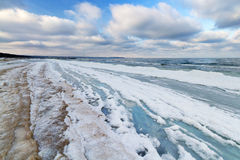 Snowy Baltic Sea beach. At winter time, Poland royalty free stock photo