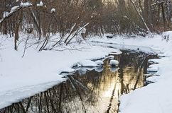 Snowy Banks and Reflections off Waters of Minnehaha Creek stock image