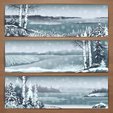 Snowy banners 1. Winter thematic  banners design with great wild snowy landscapes and falling snowflakes. Brochure,flyer,booklet,card template for product Royalty Free Stock Photography