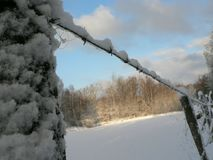 Snowy Barbwire Fence Stock Photos