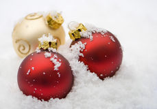Snowy Baubles Royalty Free Stock Photography