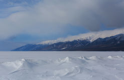 Snowy Beach of Lake Baikal and Holy Nose Peninsula. Stock Photography