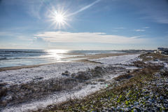 Snowy Beach. Not very often we have a s now covered beach royalty free stock photo