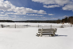 Snowy Beach Park Bench Royalty Free Stock Image