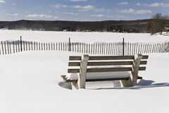 Snowy Beach Park Bench Royalty Free Stock Photography