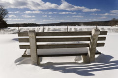 Snowy Beach Park Bench Stock Photography