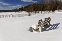 Snowy Beach Park Bench Royalty Free Stock Photo