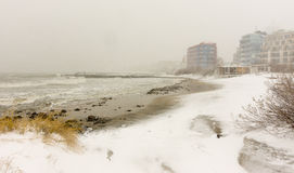 Snowy beach town of Pomorie, Bulgaria, 31 december Royalty Free Stock Image