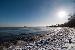 Snowy Beach in Winter Royalty Free Stock Photography