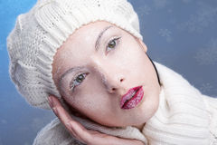 Snowy beautiful girl Stock Photos