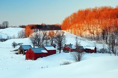 A snowy scene in New England royalty free stock photos