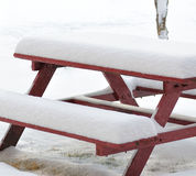 Snowy bench Stock Image