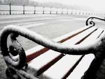 Snowy bench detail Stock Photo