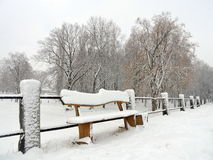 Snowy bench, Lithuania Royalty Free Stock Image