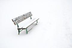 Snowy bench outdoor Stock Photos