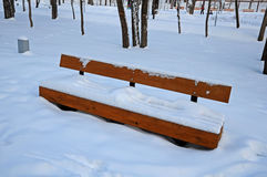 Snowy bench in the park Stock Photo