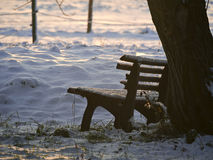 Snowy bench Royalty Free Stock Photos