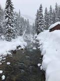 Snowy-Berge an den Gletscher-heißen Quellen stockfoto