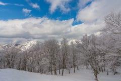 Snowy-Berge gestalten gegen klaren Himmel, Japan landschaftlich Stockbild