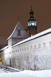 Snowy Bernardine Monastery in Lviv at the night Stock Photography